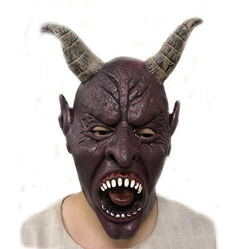 JIAAE Halloween Maske Prom Performance Horror Ziege Horn Teufel Latex Masken