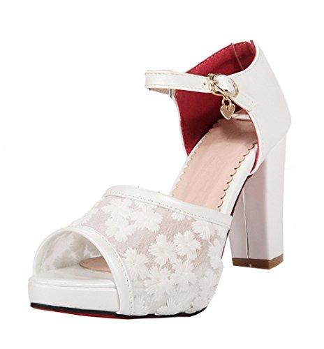 df0da882a5d51c ... 10cm Absatz Schuhe Weiß. YE Damen Elegant High Heels Peep Toe Sandalen Plateau  Pumps mit Riemchen und Blockabsatz Roter Sohle