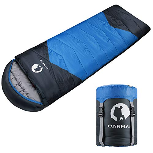 CANWAY Schlafsack Schlafsäcke Mumienschlafsack aus Baumwolle als Füllstoff wasserabweisend für Camping Indoor Outdoor Erwachsene im Winter 1,9KG (Blau-Polyester)