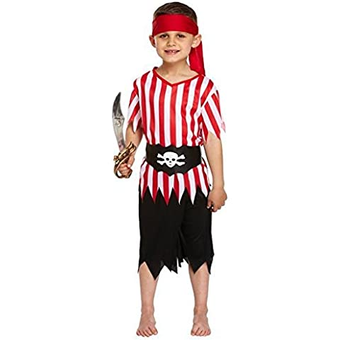 Jungen Piraten Kostüm 4-Teilig Rot Weiß Party Buchtag Outfit