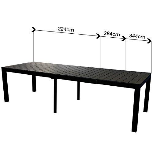 XXL Gartengarnitur Gartenmöbel Terrassenmöbel Set Sitzgruppe Sitzgarnitur – Aluminium / Polywood Ausziehtisch 224/284/344x100cm, für bis 12 Personen + 10x Hochlehner mit
