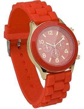 Unisex Uhr Silikon Jelly Damen Herren Quarz Sport Stilvoll Armbanduhr Rot
