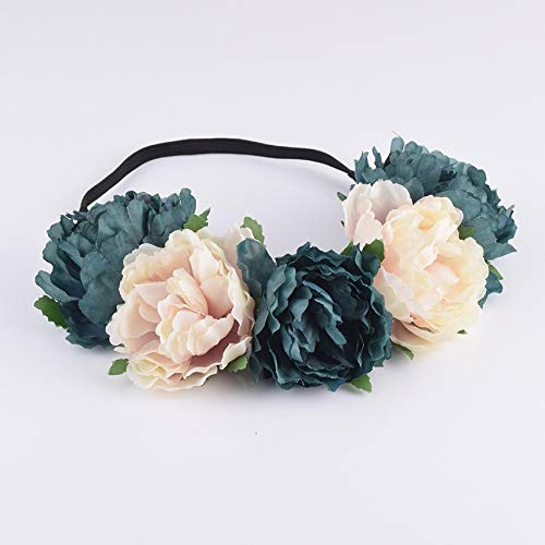 Shunbao, Stoff Pfingstrose Wildflower Stirnband Headwrap Elegante Blume Krone romantische Brautjungfer Floral Krone Boho rustikale Hochzeit (Color : 3) -