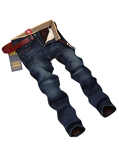 Menschwear Herren Fleece Gefüttert Jeans Stretch Modisch Winter Warme (31,Blau) (Tag Der Toten Tracht)