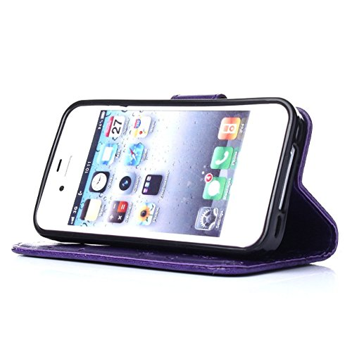 ARTLU® iphone 4s Hülle Blume Premium PU Leder Schutzhülle für iphone 4s Bookstyle Tasche Schale TPU Case mit Standfunktion Lila M1