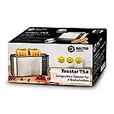Balter Toaster 4 Scheiben Langschlitz ✓ Brötchenaufsatz ✓ Auftaufunktion ✓ Brotzentrierung ✓ Krümelschublade ✓ Edelstahlgehäuse ✓ Farbe: Silber - 8