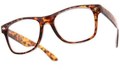 PURECITY® Nerd Sonnenbrille Wayfarer Stil Nerdbrille Retro Vintage Look - 100% UV400 Norm CE - Erhältlich in 80 verschiedenen Farben - Herren Damen Mann Frau Unisex Sonnen - Fashion Brille Trend (Brauner Rahmen leopard / Transparente Gläser) (Leoparden-brille)