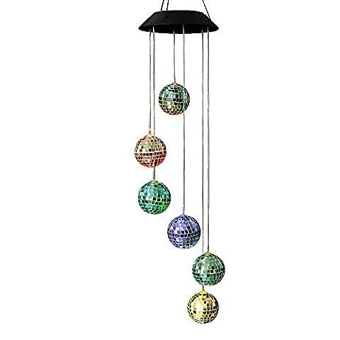 Change de couleur Solar Powered LED Wind Moblie, anzome Spiral Spinner Guimbarde portable outdoor Bonus pour patio, terrasse, cour, jardin, maison, Allée