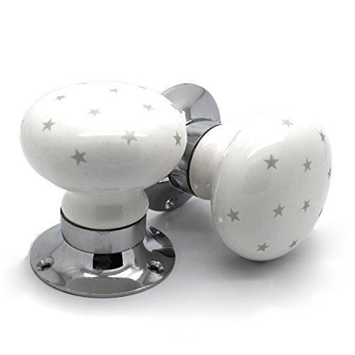 Maniglie In Ceramica Per Porte Interne.Maniglie Di Ceramica Bianca Con Stelline Grigie E Meccanismo A Molla