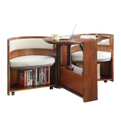 [ZHANGYANA] Multifunktions-Drehbarer Schreibtisch aus Massivholz, für Schlafzimmer, Balkon, Zuhause, nordisch, beweglich -