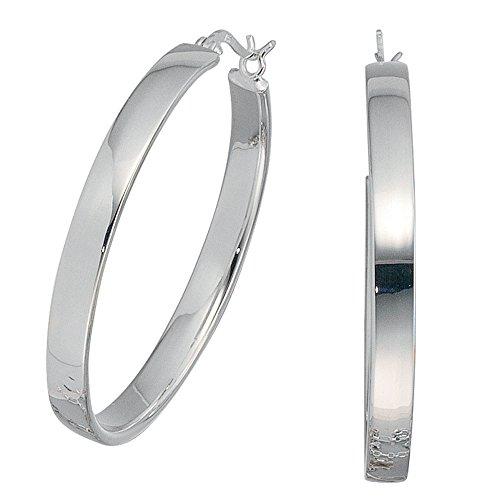 Creolen 925 schlichte große silberne Creolen silber 925 Sterlingsilber Ohrringe (Große Silberne Ringe Für Frauen)
