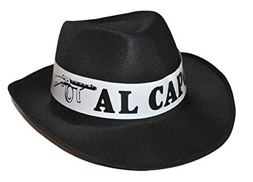 Mottoparty Kostüm Mafia - Halloweenia - Kostüm Accessoire Mottoparty Mafia- Gangster Al Capone Hut, Erwachsenen Kopfbedeckung, Schwarz
