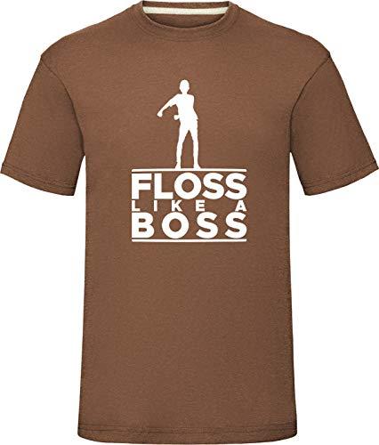 """Floss Like A Boss Shirt Floss wie EIN Chef Tanz Jungen Herren T-Shirt Battle Schlacht Royale Kinder Kleinkinder Hemden Klein (Truhe 38\"""") Maulwurf braun"""
