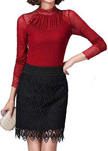 helan-damen-spitze-hohe-hals-netz-garn-grund-bluse-spitzen-hemd-eu-40-rot