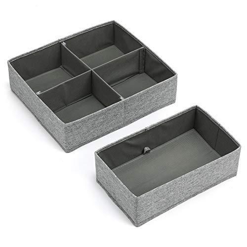 MaidMAX Aufbewahrungsbox für Schubladen, Schubladen Organizer aus Stoff, faltbare Schubladeneinsätze, Ordnungssystem für Schrank Schublade, Ordnungshelfer für Unterwäsche Socken, 2er Set Grau