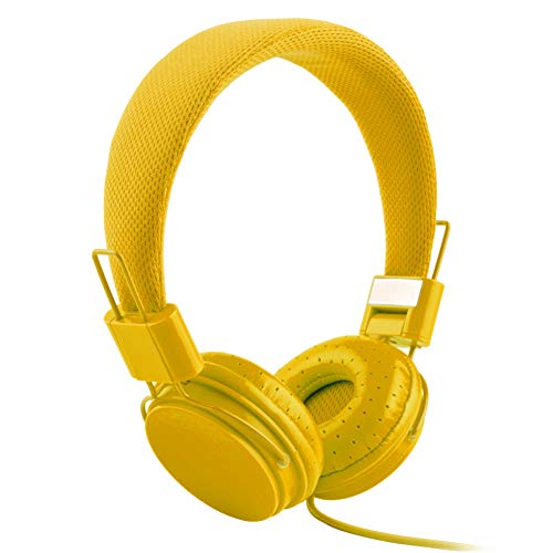 XdremYU Bluetooth Headset,Mikrofon EIN eufor Ohrhorer Funk Dual Rauschunterdrückung Candy Color Faltbarer HiFi-Stereo-Kopfhörer für kabelgebundene Steuerung mit Mikrofon Yellow