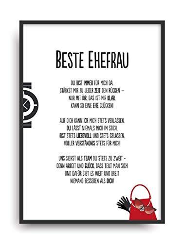 Geschenk Karte BESTE EHEFRAU Kunstdruck Ehrentitel Frau Freundin Auszeichnung Bild ohne Rahmen DIN A4