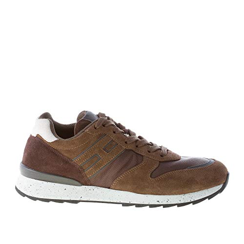 Hogan Uomo Running R261 Sneaker in camoscio e Tessuto Marrone Color Marrone Size 40 EU (UK 6.5)