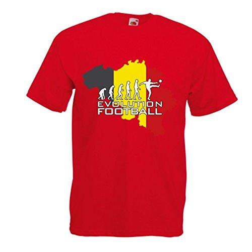 lepni.me Männer T-Shirt Evolution Fußball - Belgien, Die Belgische Flagge (Large Rot Mehrfarben)