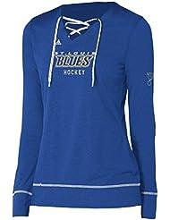 "St. Louis Blues Women's Adidas NHL ""Wordmark"" Long Sleeve Skate Lace Top"
