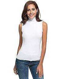 0c8d41360 Amazon.es  camiseta cuello alto - Blanco   Camisetas sin mangas ...