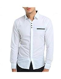 BaZhaHei, Ropa de Hombre, Camisetas para Hombre de Vestir de Manga Larga con Cuello
