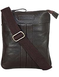 JUSTANNED Leather 25.4 cms Brown Messenger Bag (JTMB400-2)