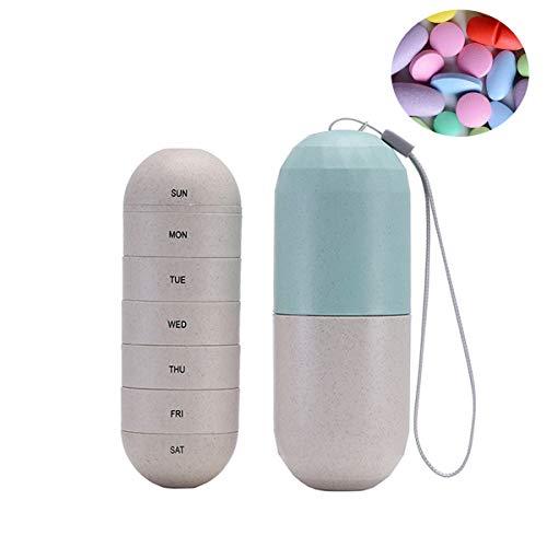 Automatische Medikamenten-dispenser (BEIAOSU Pill Box Organizer 7-tägiger Medikamentenspender, feuchtigkeitsbeständig, aus Getreidefasern. Wöchentlicher Pillenetui-Organizer mit einzigartigem, wasserdichtem und tragbarem Design)