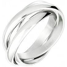 Ecloud Shop® Anillo cruz tricíclicos Triple bodas de plata de la banda de la Mujer