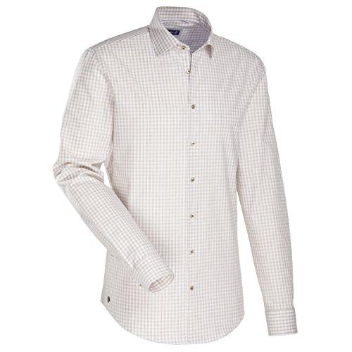 JACQUES BRITT Herren Hemd Slim fit Blue Label 1/1-Arm Bügelleicht Streifen Fashion-Hemd Kent-Kragen Manschette weitenverstellbar Beige