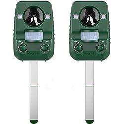 AngLink 2 x Répulsif Chat Ultrason Solaire Repulsif Chat Exterieur Ultrason Chat pour Repousser Animaux Nuisibles Protecteur de Jardin-2018 Nouvelle Version