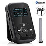 Bluetooth MP3 Player, Baonuor Mini MP3 Player mit Clip für Sport- und Musikliebhaber, 8GB, 30 Stunden Wiedergabe Musik Player mit FM, Aufzeichnung, E-Buch, Sleeptimer, Schwarz
