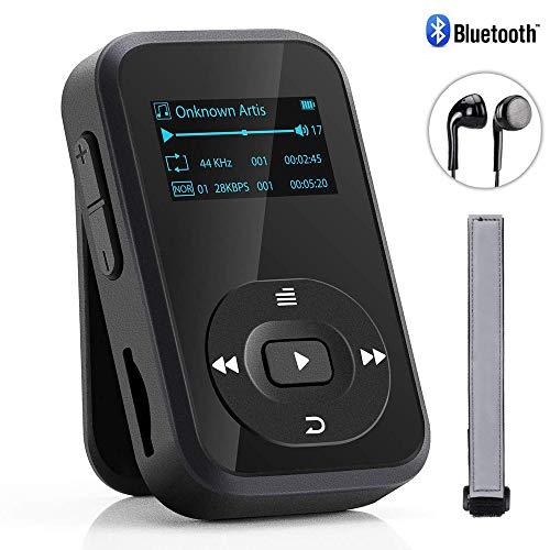 Bluetooth MP3 Player, Baonuor Mini MP3 Player mit Clip für Sport- und Musikliebhaber, 8GB, 30 Stunden Wiedergabe Musik Player mit FM, Aufzeichnung, E-Buch, Sleeptimer, Schwarz