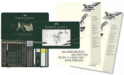 Preisvergleich Produktbild Faber-Castell 112974 - Pitt Graphite Set im Metalletui, groß, mit 2 Skizzenblöcken