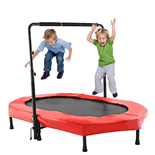 ANCHEER Kindertrampolin, Garten Trampolin für Zwei Kinder Indoor/Outdoor zusammenklappbar mit verstellbarem Handlauf Eltern-Kind-Trampolin Fitness Maximale Gewicht Beträgt 100KG. (Rot.)