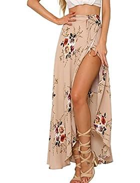 Simplee Apparel Las mujeres de cintura alta verano casual Boho maxi falda de estampado floral Wrap cubierta de...