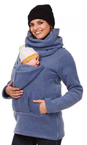 Happy Mama. Women's Maternity Fleece Hoodie Back Front Carrier Baby Holder. 030p (Blue, UK 12, L)