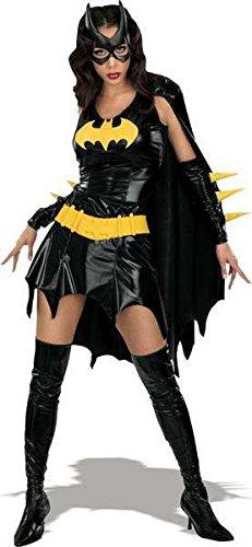 Batgirl Comic Kostüm, knapp, schwarz glänzend, günstiges Komplettkostüm - XS (Für Batgirl Kostüme Frauen)