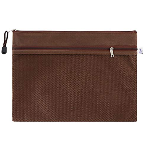 Wenwenzui TIANSE TS-101 Double Layer Oxford Cloth Zipper Paper File Documents Folder Bag Coffee -