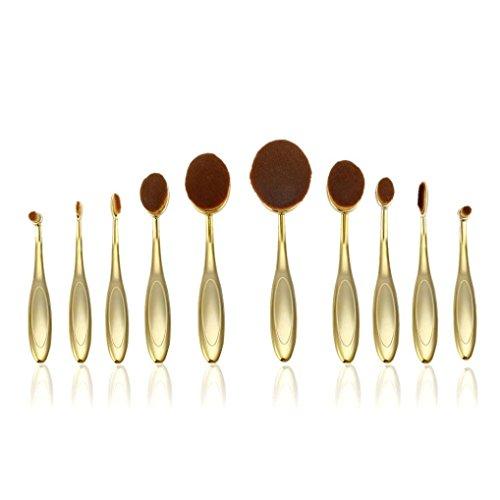 Kolylong Fundación Toothbrush Brush Cejas Eyeliner Labios ovalados cepillos, 10pc (Negro) - 552-m214
