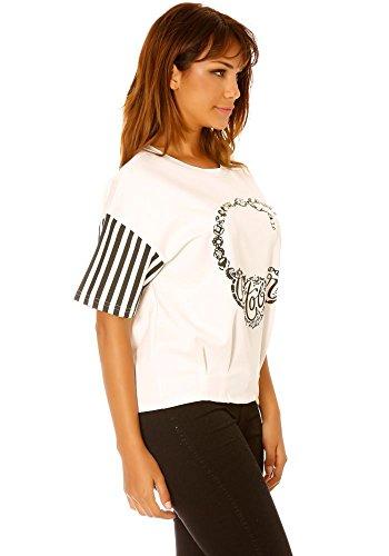 dmarkevous - Tee-shirt manche rayés et plis bas de vêtement, motif october.Tee-shirt manche rayés et plis bas, motif october. Blanc