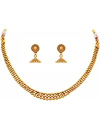 Meenaz Jewellery Gold Plated Ear Rings Necklace Set/Jewellery Set With Earrings For Women Girls