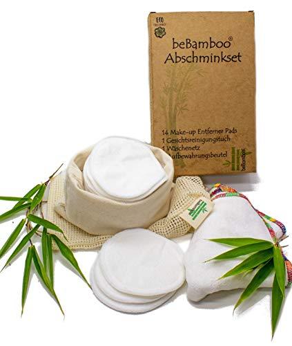 beBamboo® waschbare Abschminkpads, 14 wiederverwendbare Wattepads aus Bambus Zellstoff inkl. Wäschebeutel, Gesichtsreiningungstuch & Aufbewahrungsbeutel - Ökologische Reinigungspads
