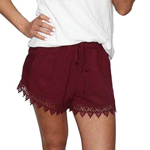 Hosen Damen Kolylong® Frauen sommer spitze hohe Taille Kurze Hose Hot Pants lose Lässige Strand Shorts Sporthosen (XL, Rot) (Pants Leder Hot)