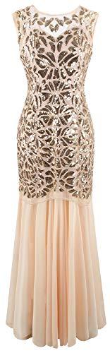 Angel-fashions Damen ärmelloses V-Ausschnitt Pailletten Schnürung Muster Ballkleid - Pink - XX-Large -