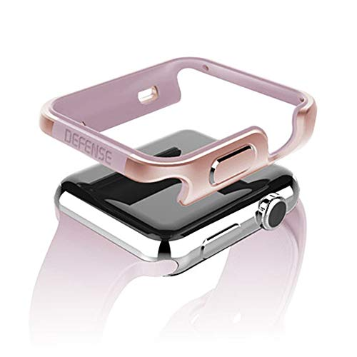 qichenlu [Defense Edge Roségold Apple Watch 38mm CNC Eloxiertes Aluminium Rahmen Case,Apple Watch Hülle Uhr Gehäuse Schutz Cover Stoßfest Metall Bumper kompatibel mit iWatch 38mm Aluminium Hard Case