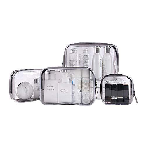 Ozaiic Transparenter Reise-Kulturbeutel, Wasserdichter, durchsichtiger Beutel, tragbarer Organizer für Rasierwaschsets, von der TSA genehmigter Reisekoffer für Körperpflege, Packung mit 4 Größen