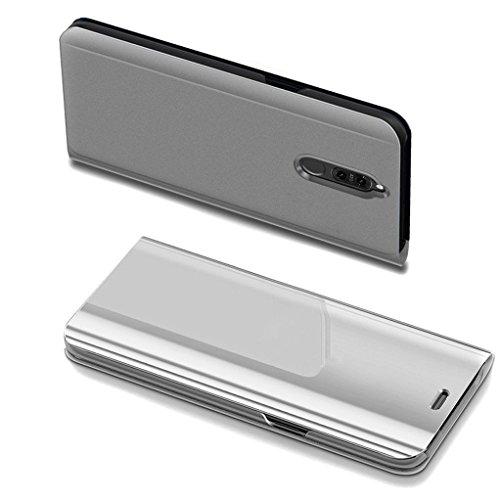 COTDINFOR Huawei Mate 10 Lite Spiegel Ledertasche Handyhülle Cool Männer Mädchen Slim Clear Crystal Spiegel Flip Ständer Etui Hüllen Schutzhüllen für Huawei Mate 10 Lite Mirror PU Silver MX.