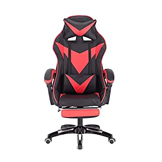 Gaming Racing Seat, High-Back PC Computer Video Chair Ergonomic Design Office Desk Chair with Headrest and Lumbar Support (Color : Balck red)