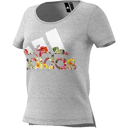 Adidas bos flower tee, maglietta donna, medium grey heather, s 40-42